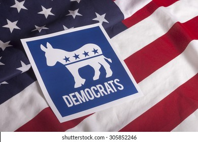 Democrat election on textured American flag