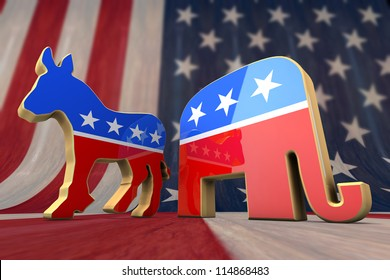 Democrat Party and Republican Party Symbol on an American Flag Background