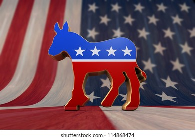 Democrat Party Symbol on an American Flag Background