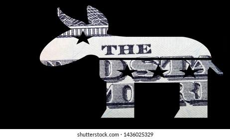 Democratic Donkey, United States Money on Black Background