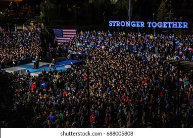 Democratic presidential nominee Hillary Clinton speaks to a gathered crowd of thousands at a campaign rally in Philadelphia, Saturday, October 22, 2016.