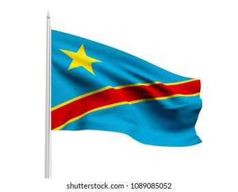 Democratic Republic of the Congo flag floating in the wind with a White sky background. 3D illustration.