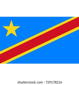 Democratic Republic of the Congo flag, official colors and proportion correctly. National Democratic Republic of the Congo flag. Raster illustration