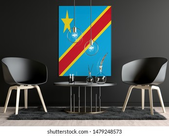 Democratic Republic of the Congo Flag in Room, Democratic Republic of the Congo Flag in Photo Frame