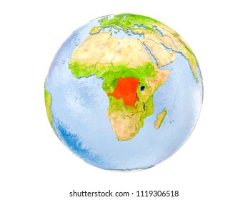Democratic Republic of Congo highlighted in red on model of Earth. 3D illustration isolated on white background. Elements of this image furnished by NASA.