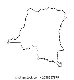 Democratic Republic Congo map of black contour curves on white background of illustration. Raster copy.