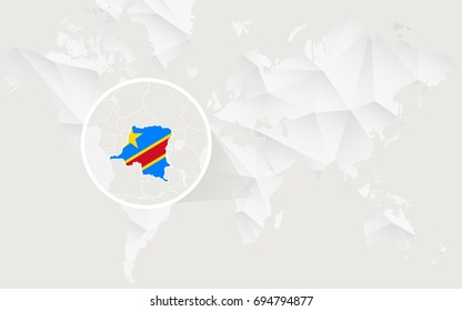 Democratic Republic of the Congo map with flag in contour on white polygonal World Map. Raster copy.