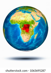 Democratic Republic of Congo in red on model of planet Earth hovering in space. 3D illustration isolated on white background. Elements of this image furnished by NASA.