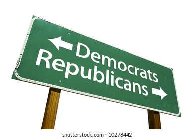 Democrats, Republicans road sign isolated on white.