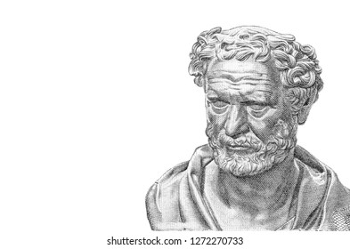 """Democritus on 100 Drachmai 1967 Banknote from Greece. Ancient Greek philosopher. The most influental before the socratic era. Also considered as the """"father of modern science"""". Collection."""