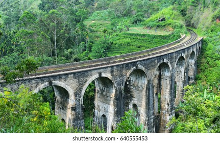 Demodara Nine Arch Bridge  Built in 1921 during British colonial times, this bridge is made using only rock, cement and bricks (no steel) and is the largest of its kind in Sri Lanka (still in use)