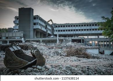 Demolished and abandoned building