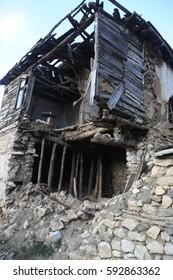 Demolished house at Janche Village in Mavrovo National Park, Macedonia.