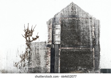 demolished house on the wall