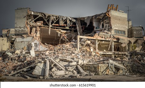 Demolition of the building. Destroyed building.