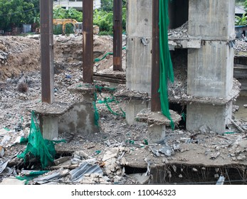 Demolition of the building. Photo reviews foundation of building after walls were destroyed