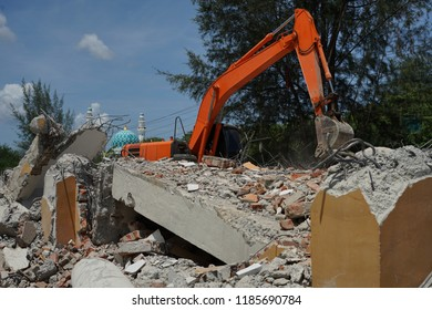 Demolition Building  using Excavator