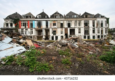 Demolition of historical houses in Delft, Holland, sacrificed to a railwayline