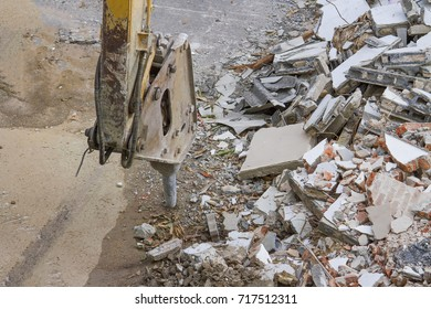 Demolition of an industrial building and drill concrete machine