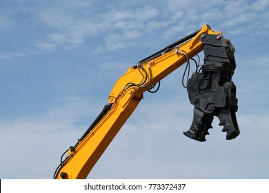 A Demolition Pulveriser on an Excavator Hydraulic Arm.