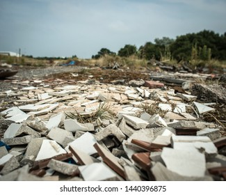 Demolition rubble on brownfield land.