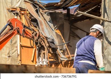 Demolition site of housing