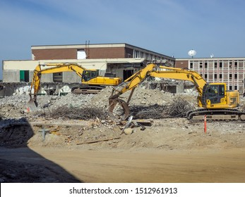 Demolition site of old high school to make way for a new one