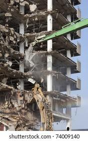 Demolition of a skyscraper