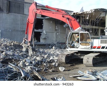 Demolition Worker and Crusher
