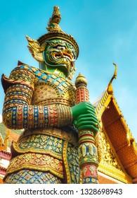 Demon Guardian and  popular corner photography  in Wat Phra Kaew Grand Palace Bangkok