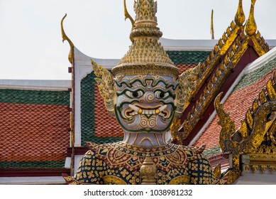 The Demon Guardian statues at the gate of Wat Phra Kaew (Temple of the Emerald Buddha) is the most famous landmark, Bangkok, Thailand