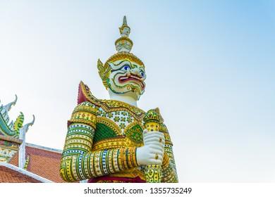 Demon guardian at Temple of Dawn also know as the Wat Arun Ratchawararam Ratchawaramahawihan, Bangkok, Thailand.