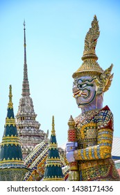 Demon Guardian at Wat Phra Kaew Grand Palace.Thai art is very fine and is considered a national treasure. Wat Phra Kaew Grand Palace The most famous tourist attraction in Bangkok, Thailand