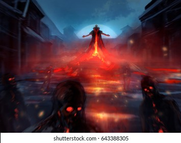 Demon lord with zombies. Illustration of a demon lord summoning evil zombie forces with fire effects and blurry mist.