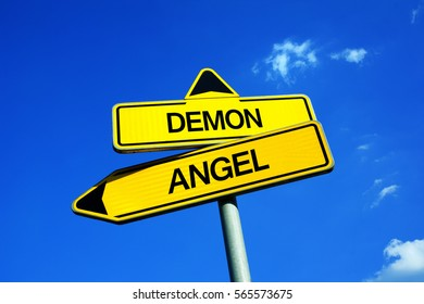 Demon vs Angel - Traffic sign with two options - good, holy, innocent and moral spiritual person from heaven vs bad and evil character from hell. Morality vs immorality, holiness and goodness vs sins