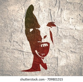 Demonic ugly face. Devil scream character. Demon or monster screaming with in an open mouth as a front view horror face. Grunge distress texture.