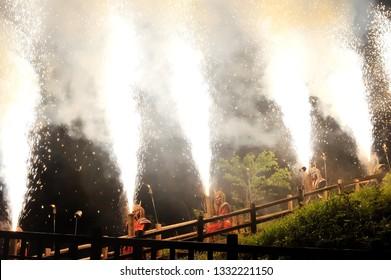 Demon's Fireworks Oni hanabi at Noboribetsu Jigokudani (Hell Valley) Noboribetsu, Hokkaido, Japan.