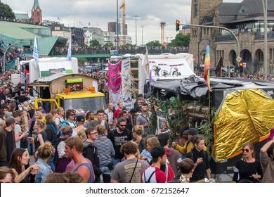 Demonstration against g20 summit Hamburg Germany July, 05,2017 Harbour destrict