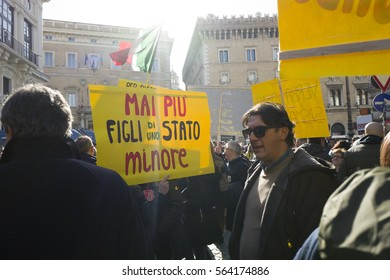 Demonstration against the government of the people affected by the earthquake in central Italy, Rome 25 January 2017 Italy