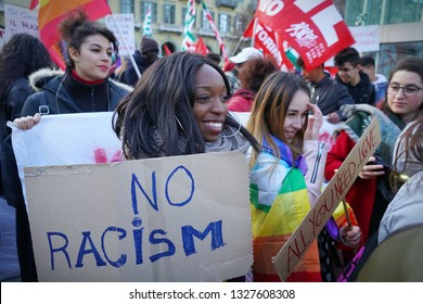 Demonstration against racism. Milan Italy - March 2019