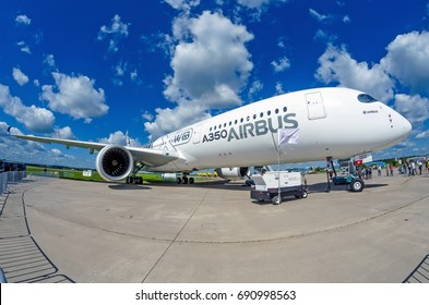 Demonstration airplane Airbus A350 XWB. Russia, Moscow. July 2017