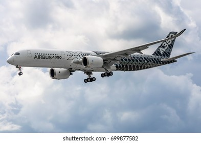 Demonstration airplane Airbus A350 XWB. Russia, Moscow. Zhukovsky airport. July 19, 2017