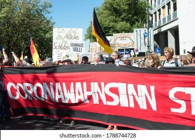 Demonstration in Berlin, Germany on the 1.8.2020, protest against corona regulations, street 17. June, Brandenburg Gate