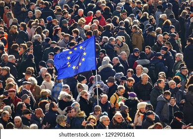 Demonstration in favour of the European Union against nationalist movements. Turin, Italy - January 2019