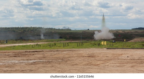 demonstration of the fire power of a heavy flamethrower system, the launching of missiles