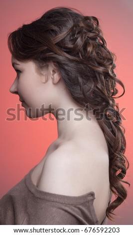 Demonstration Hairstyles Greek Braid On Brown Stock Photo Edit Now