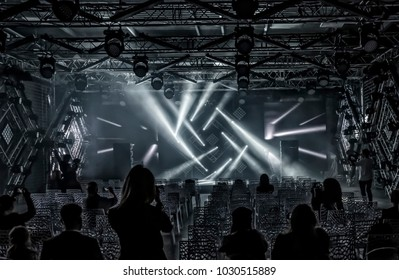 Demonstration of lighting effects in a specially equipped room. Exhibition of Musical and Lighting Equipment in Moscow. September 15, 2016