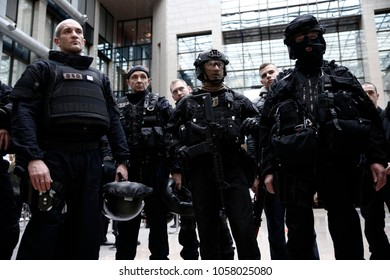 Demonstration in managing the consequences of a terrorist attack by members of French special police forces and Intervention Brigade inside the EU Council building in Brussels Belgium, Dec. 9 2016