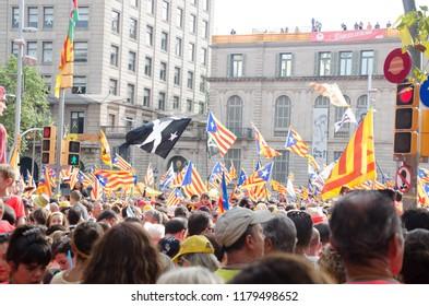 demonstration on 11 september of 2018 for catalan independence in Barcelona