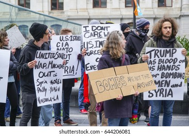 Demonstration and Protest March against Trump and War in Syria - PHILADELPHIA / PENNSYLVANIA - APRIL 6, 2017